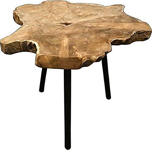 Fair-Shopping Tisch Beistelltisch Teak Wohnzimmer Teakholz Holztisch Dreibein Natur Design Braun 45 x 55 cm J280
