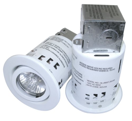 "3"" Recessed Light Kit with Swivel Trim And 50 Watt Bulbs, Remodeler's Non-IC Cans, Contractor Pack of 2 Lights"