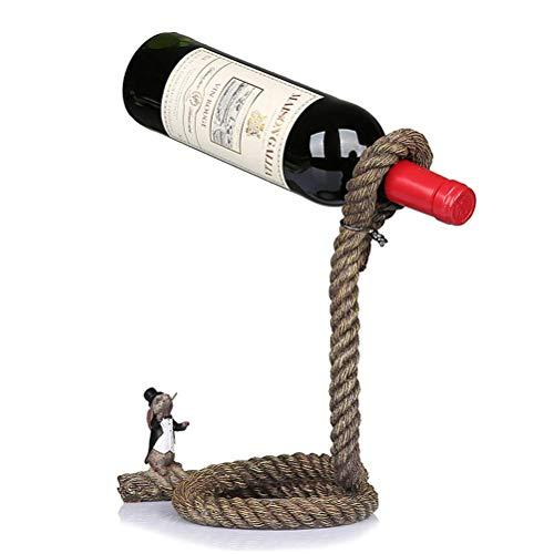 Soporte para botellero para vino, soporte mágico para lazo de cuerda para botella de vino, soporte para botella de vino individual con ilusión flotante, sostiene botellas flotando en el aire, decoraci