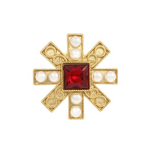 EWFD Insignia de Broche de patrn Dorado de Medalla de Caballero Barroco Vintage