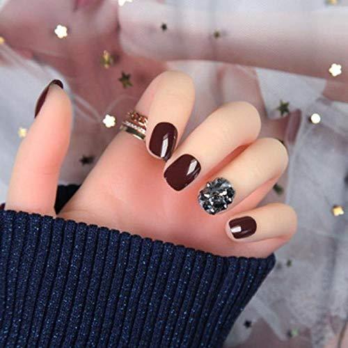 3D 24 pcs Glitter Noir Diamant Faux Ongles Brillant Paillette Décor Pleine Couverture Solide Couleur Amovible Faux Ongles Art Conseils