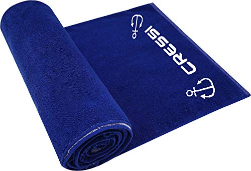 Cressi Cotton Frame Beach Towel Toalla Deportiva, Adultos Unisex, Navy, 90 x 180 cm