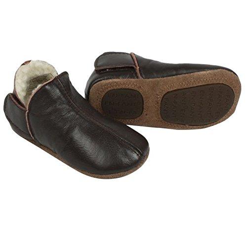 En Fant - Zapatillas de estar por casa (piel, forradas, talla 19), color marrón