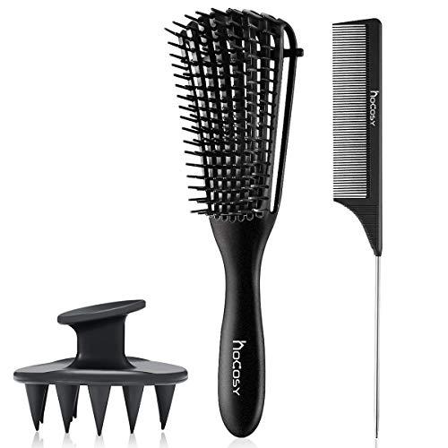 HOCOSY Cheveux Bouclés Brosse,Masseur Tête Shampooing,Démêlant Brosse,Peigne Antistatique,Kit de Cheveux pour Cheveux Bouclés Humides/Secs/Longs et épais