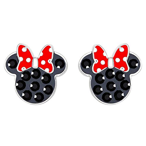 Disney Minnie Mouse Sterling Silver Black Crystal Stud Earrings with Red Polka Dot Bow