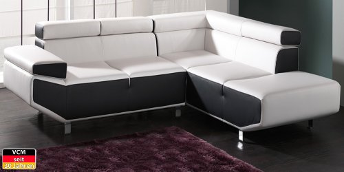VCM Ecksofa Sofa Couch Fly, 276 x 100 x 233 x 77/93 cm, Schaumstoff / Kunstleder
