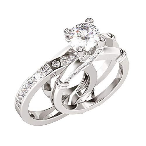 2 In 1 Creative Combination Rings Set With Zircon And Versatile Fashion Rings 2021 New Rings Finger(C-Silver,7)