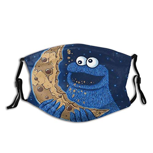 Half Face Cloth Mouth Anti-Dust Cookie Monster Moon M-Shaped Adult Reusable Facial Nose Accessories with Replace Filter Running Outdoor