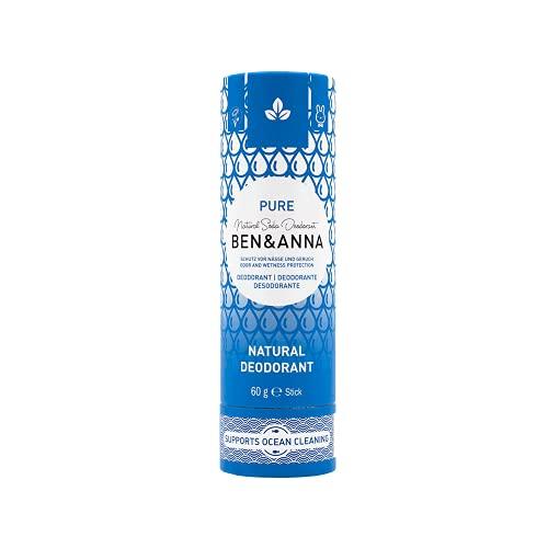 Desodorante de soda natural Ben&Anna, 100% sin aluminio, libre de crueldad, vegano, certificado natural con manteca de karité orgánica y bicarbonato de soda, fabricado en Alemania, puro, 60 g
