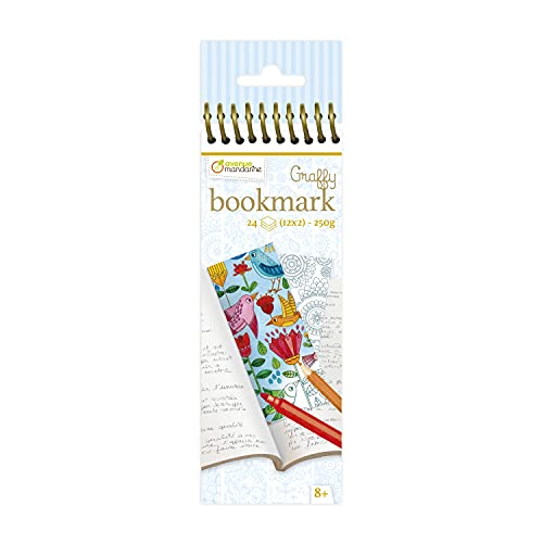 Avenue Mandarine GY038O Malblock mit 24 Lesezeichen Graffy, zum Selbstgestalten, 250g Zeichenpapier, 12 Designs x 2, ideal für Kinder ab 6 Jahren, 1 Stück, Mandala mit Blumen