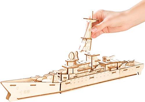 Playtastic 3D Holzbausatz: 3D-Bausatz Zerstörer aus Holz, 83-teilig (Modellbau-Bausätze aus Holz)