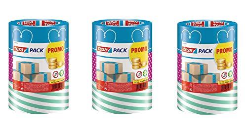 tesa - buntes Packband Klebeband Packetklebeband Verpackungsband in Verschiedenen bunten Designs für Geschenke/ 3 Rollen a 25m x 50mm (Blau/Pink/Grün, 9 Rollen)