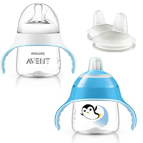 Philips Avent Trinkbecher -Set ab 4. Monat // Philips Avent Trinkbecher mit Sauger 4 Mo.+ // Philips Avent Pinguin-Becher mit Trinkschnabel 6 Mo.+, 200 ml // 2 x Ersatzschnabel
