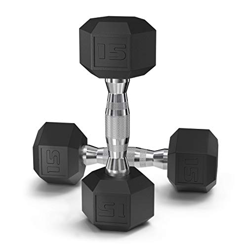 Epic Fitness Coated Hex Dumbbell Weights (15, Pair)