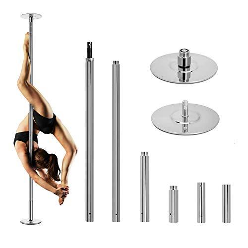 Palo Pole Dance 45mm Palo da Ballo in Acciaio Inox Professionale, Altezza Regolabile Statico e Girevole per Fitness Esercizi, per Casa Club