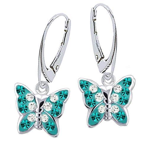 Kristall Schmetterling Klapp-Brisur Ohrringe 925 Echt Silber Mädchen Kinder Ohrstecker Ohrhänger (5) Türkis-Weiss)