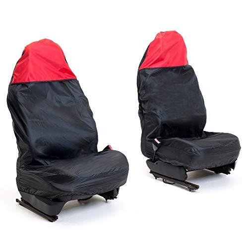 Auto Companion AUTOC-44 - Fundas universales impermeables para asientos de coche (negro y rojo en la parte superior, juego de 2)