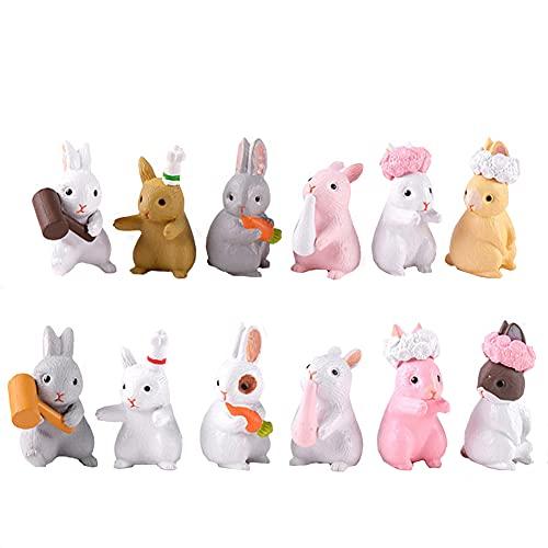 12 piezas Juego de figuras de juguetes de personajes Conejos encantadores Figuras de juguetes de personajes de animales Juego de conejos Figuras de juguetes para jardín Pastel de escritorio Decoración