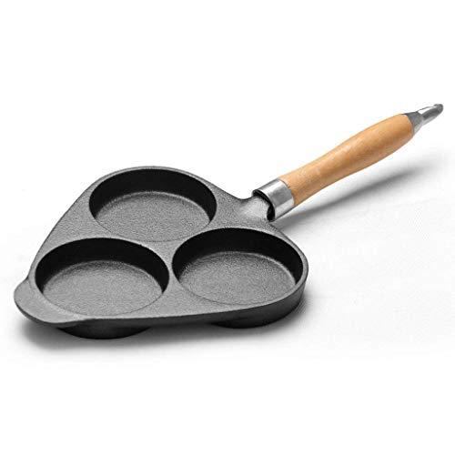 Chenbz 3-Agujero de hierro fundido sartén tortilla con calor manija resistente, antiadherente huevo Burg Pans Pancake Pan
