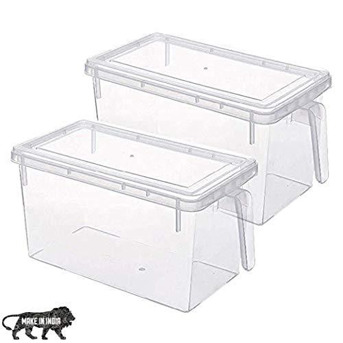 ARURA (LABEL) Refrigerator Food Storage Organizer Container Square Handle Boxes (2 pc set)