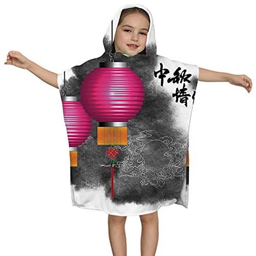 XCNGG Lonel Mujer con sombrilla en el Lago, Toalla de Playa con Capucha para niños pequeños, 100% algodón, Suave, rápido, Absorbente, Uso para niños de 2 a 7 Orejas