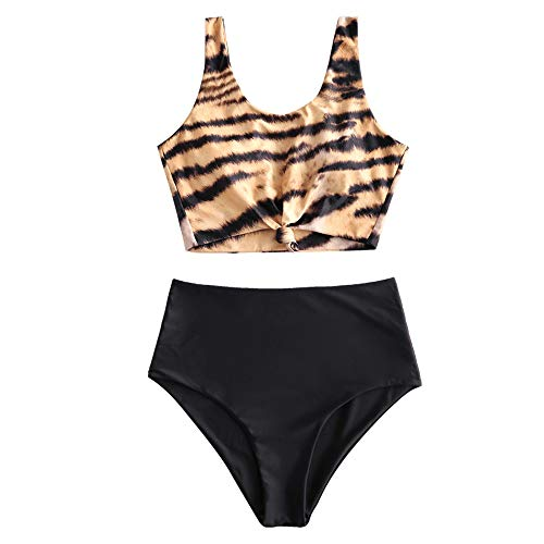 ZAFUL Women's Scoop Neck Tropical Leaf Knotted Two Pieces Tankini Set Swimsuit (Multi-F, XL)
