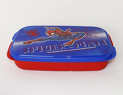 Tupperware Clevere Pause 590 ml con 2 divisiones Spiderman rojo/azul, edición limitada + cuchara colgante de lima