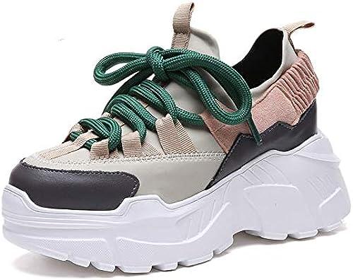SIKESONG La Plate-Forme Féminine Hauts Talons Chaussures Bottines Accrue Couleur Mixte Bottes Mode Dentelle