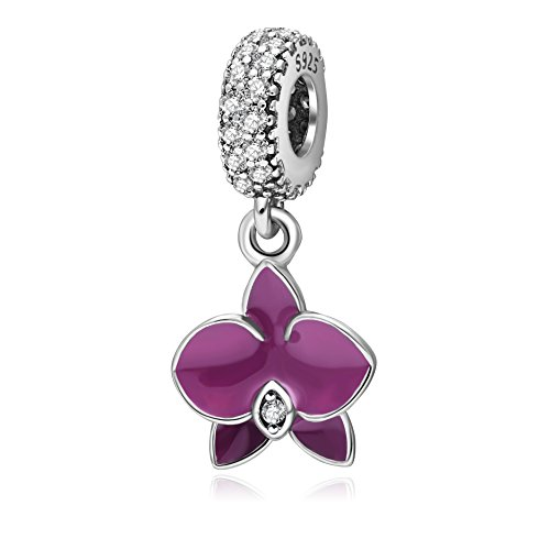 Hoobeads.925 Sterling Silver Charm Beads Orchid with Clear Cz Stone and Fuschia Enamel Pendants