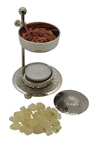 AMAHOFF Weihrauchbrenner höhenverstellbar - Silbern Räuchergefäß höhenverstellbar zum Räuchern von Weihrauch oder Harzen inkl. Starterkit