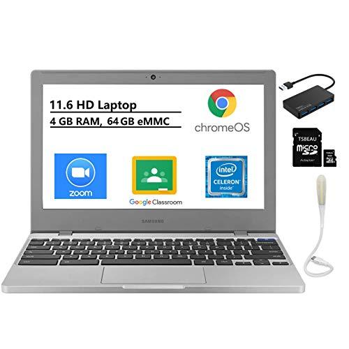 Samsung Chromebook 4, 11.6' HD Laptop, Intel Celeron N4000, 4GB RAM 64GB eMMC,Gigabit Wi-Fi, Bundled with TSBEAU USB LED Light & 4-Port USB 3.0 Hub & 16GB Micro SD Card