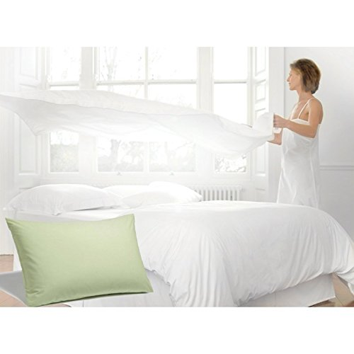 Charlotte Thomas Percale Plain Bed Set - 180 Thread Count Double Light Green