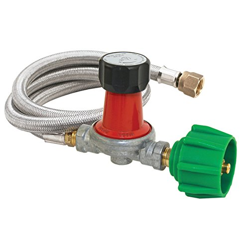 Bayou Classic M5HPR-30, 0-30 PSI Adjustable Regulator with Stainless Braided Hose