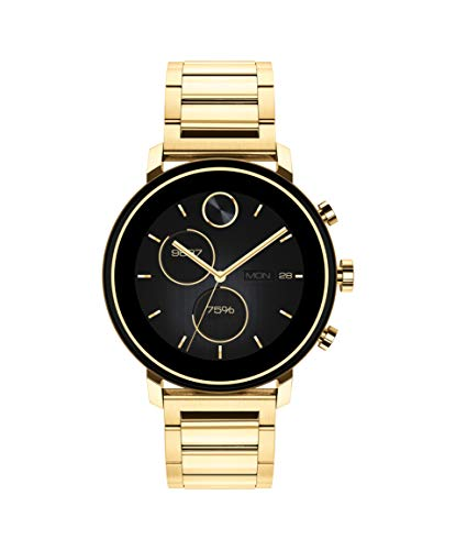 Movado Connect 2.0 Unisex Powered with Wear OS by Google Stainless Steel and Ionic Light Gold 2 Plated Steel Smartwatch, Color: Yellow (Model: 3660036)