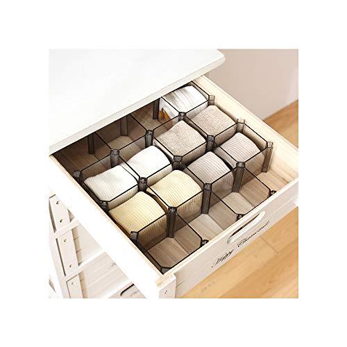 Conjunto ajustable WARRAH de 6cajones organizadores con cajas para calcetines, productos cosméticos, corbatas y otros. Negro