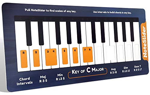 NoteSlider for Piano: Slide to Find Piano Chords and Scales in Every Key. Fun and Interactive Way to Learn to Play Piano Musical Scales. Easier to Read and More Portable than a Piano Chord Chart.