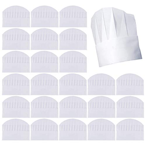 Cooyeah Kids Chef Hats 50 Pack Disposable 8 Inch Kids Paper Chef Hats, White Non-Woven Chef Toques Kitchen Cooking Chef Caps for Kids Home Kitchen, Baking and Pizza Party Favors, Large