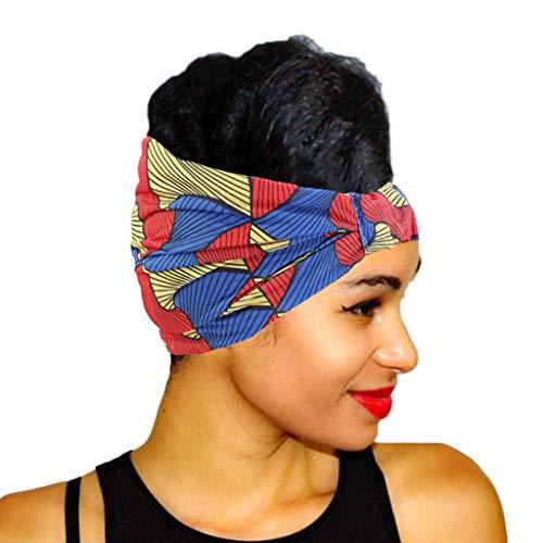VEED Mujeres Elástico Ultra Ancho Bandana Diadema Color Geométrico Rayas Floral Africano Impresión Headwrap Plisado Stretch Turbante Rojo+Amarillo+Azul