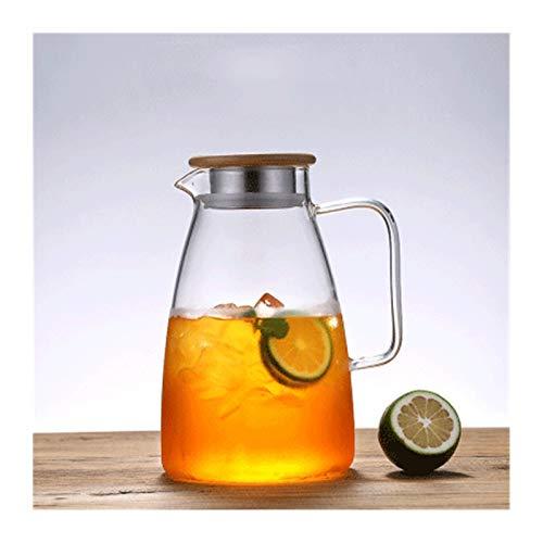 Tetera de cristal transparente, botella de agua fría, taza de agua blanca fría, tetera de gran capacidad, tetera transparente de espesor, tamaño B