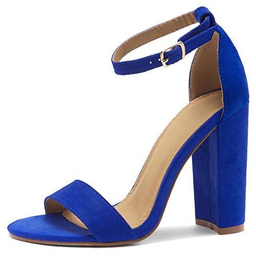 Herstyle Rosemmina Abendschuh mit offener Zehenpartie, mit Knöchelriemen und großem Blockabsatz, hoher Absatz, für Partys, Blau (königsblau), 37 EU