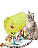 CHONGYA Juguete para gatos con forma de ratón, juguete para gatos, juego con túnel para gatos, pelotas, juguete de peluche, ratones de juguete, juego variado, para gatos y gatos, 21 unidades