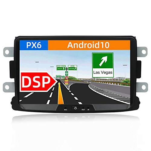 PX6 DSP Android 10 Car Stereo Fit para Renault Duster/Dacia Sandero/Lada Xray 2 / Captur/Logan 2-1 DIN - Cámara Canbus Gratis  4G + 64G 8   HDMI 4 - -Video AHD Dab Volante BT5.0 4G WiFi Carpla