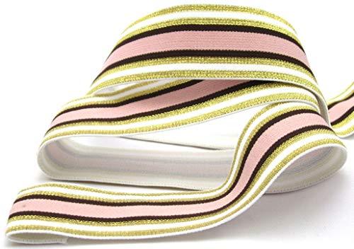 Gummiband mit Streifen, 40mm, elastisch, 1970, Elastic, nähen, Meterware, 1meter (Gold)