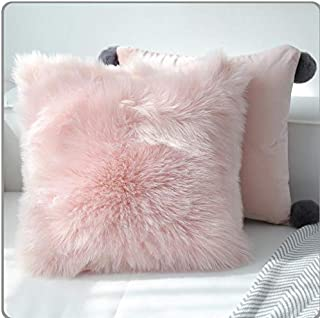 ZOUJIN Cushion Faux Fur Washable Square Shaped Sofa Home Soft Plush Covers Throw Pillow (Color : Pink, Size : 40 * 40cm)