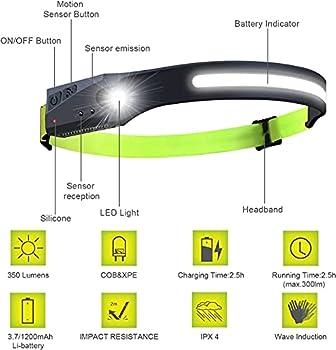 Lampe Frontale Rechargeable LED Eclairage Puissante, 5 Modes d'éclairage, Induction Manuelle, Intelligente Étanche, pour la Course, la pêche, Le Camping, la randonnée en Plein air