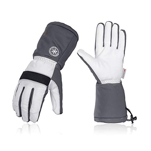 Vgo 2Pairs -23 ℉ or above 3M Thinsulate G200 Lined Goatskin Ski Gloves(Size XL, Grey,GA8435FW)