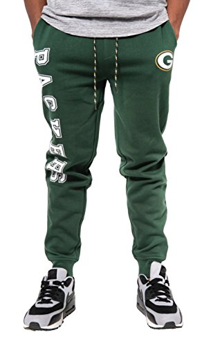 Ultra Game NFL Green Bay Packers Mens Active Basic Jogger Fleece Pants, Team Color Stripe, X-Large