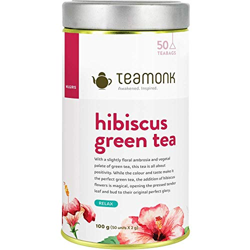 Teamonk Hibiscus Green Tea, Long Leaf 50 Tea Bags, 100 g