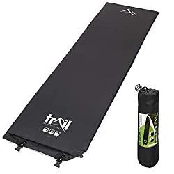 SLEEP COMFORTABLY WHEN YOU'RE CAMPING: Enjoy a sound night's sleep when you're camping with this Single Self-Inflating Camping Mat from Trail Outdoor Leisure. 3cm thick when inflated to form a comfortable, cushioned surface between you and the ground...