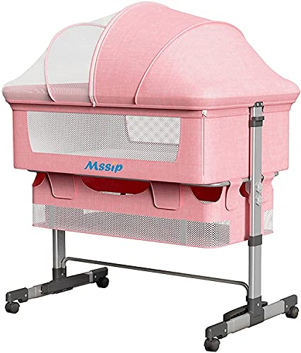 DASHUAIGE 3-in-1 Baby Cradle Bed Removable Baby Cradle Portable Crib Cradle Safety Pillow Height Adjustment Tilt Angle Storage Bag Very Suitable for Families Pink